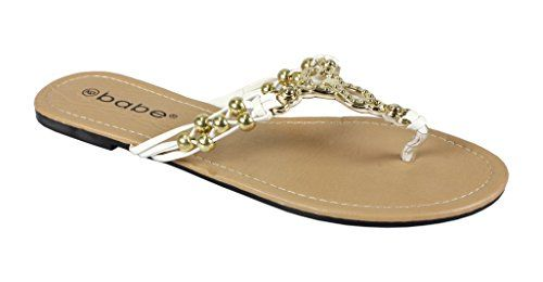 White Womens Gold Chain Beaded Summer Thong Strappy Comfort Sandal, 7