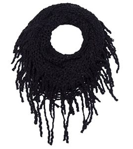 Black Gorgeous Cozy Winter Knitted Square Pattern Infinity Loop Scarf (Small Square)