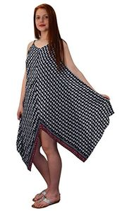 Black Womens Gypsy Fashion Handkerchief Hem Spaghetti Strap Tunic Dress