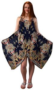 Navy Lime Gypsy Fashion Handkerchief Hem Spaghetti Strap Tunic Dress