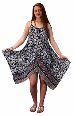 Navy Pink Gypsy Fashion Handkerchief Hem Spaghetti Strap Tunic Dress