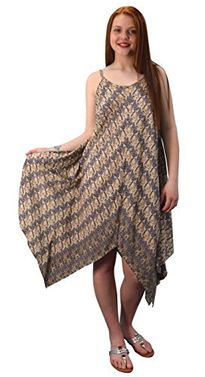 Sepia Women's Gypsy Fashion Handkerchief Hem Spaghetti Strap Tunic Dress