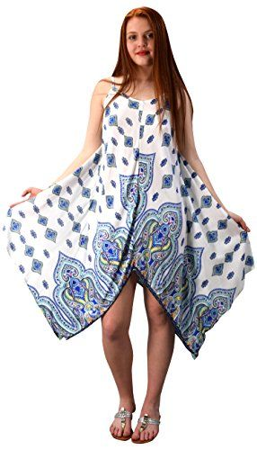 White Blue Gypsy Fashion Handkerchief Hem Spaghetti Strap Tunic Dress Large