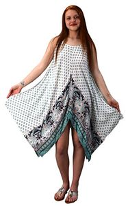 White Mint Gypsy Fashion Handkerchief Hem Spaghetti Strap Tunic Dress