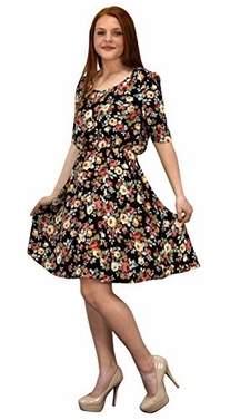 Black Womens Half Sleeves Rose Floral Print Princess Seam Skater Dress
