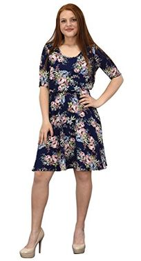 Navy Womens Half Sleeves Rose Floral Print Princess Seam Skater Dress