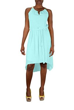 Aqua Womens Hi Low Gold Embellished Tank Dress, Large