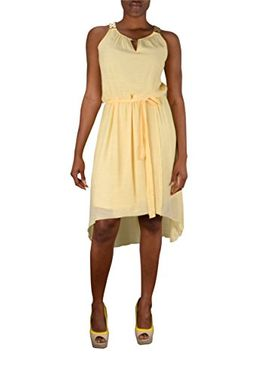 Yellow Womens Hi Low Gold Embellished Tank Dress