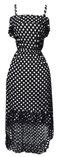 Black-White Ruffle Polka Dot Maxi Dress