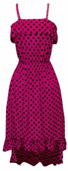 Fuchsia-Black Polka Dot Maxi Dress