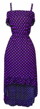 Black & Purple Ruffle Polka Dot Maxi Dress