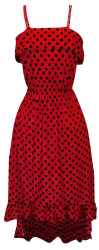 Red Women's Hipster Retro Polka Dot High Low Maxi Dress with Ruffled Hem (Medium)
