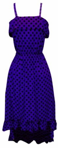 Violet Women's Hipster Retro Polka Dot High Low Maxi Dress with Ruffled Hem
