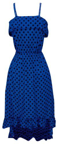 Blue Women's Hipster Retro Polka Dot High Low Maxi Dress with Ruffled Hem (XL)