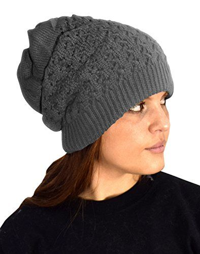 Gray Womens Knit Thick Warm Boho Slouch Beanie Ski Hat Cap Snood