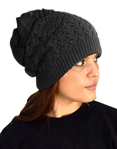 Womens Knit Thick Warm Slouch Beanie Ski Hat Cap