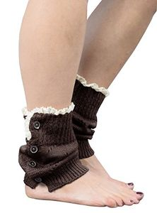 Brown Womens Knitted Crochet Ribbed Cable Knit Short Leg Warmers Laced Buttoned
