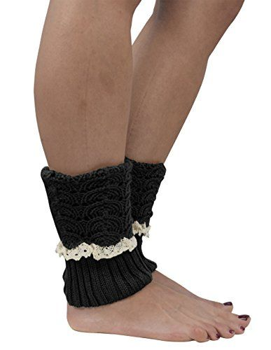 Womens Knitted Crochet Ribbed Cable Knit Short Leg Warmers Laced Crochet