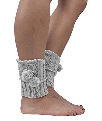 Womens Knitted Crochet Ribbed Cable Knit Short Leg Warmers Pom Pom