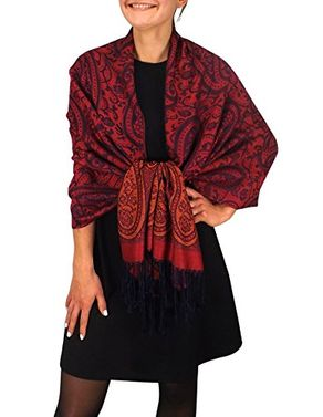 Peach Couture Womens Large Vintage Pashmina Paisley Jacquard Scarf Shawl Wrap (Cranberry and Navy)