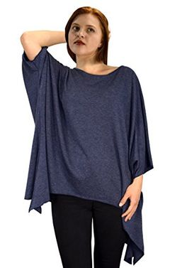 Women's Loose Silhouette Uneven Hem Over Sized Tunic Tops One Size