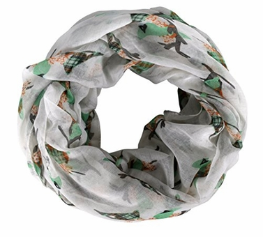 White Mint Two Toned Multicolor Plaid Patterned Bird Sparrow Blue Jay Robin Print Infinity Scarf