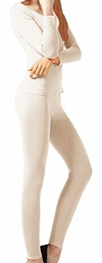 Beige Womens Microfleece Ultimate Warmth Comfort Fit Thermal 2 Piece Set