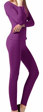 Purple Women's Microfleece Ultimate Warmth Comfort Fit Thermal 2 Piece Set