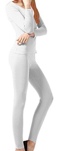 White Women's Microfleece Ultimate Warmth Comfort Fit Thermal 2 Piece Set XL)