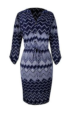 Blue Womens Multi Pattern Button V Neck Shift Dress 3/4 Sleeves Chevron, Small
