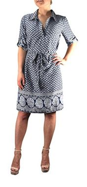 Multi Pattern V Neck Shift � Sleeve Waist Tie Shift Dress Medium