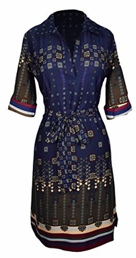 Navy Maroon V Neck Shift � Sleeve Waist Tie Shift Dress Small