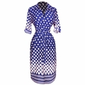 Navy White Polka Dot V Neck � Sleeve Shift Dress