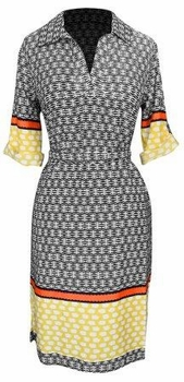 Yellow-Orange V Neck 3/4 Sleeve Shift Dress