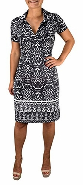 Grey Multi Pattern V Neck Short Cap Sleeve Sheath Shift Dress (Large)