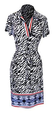 Zebra Women's Multi Pattern V Neck Short Cap Sleeve Sheath Shift Dress (Small)