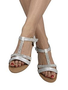 Silver Womens Open Toe Strappy Ankle Buckle Gladiator Sandals Flip Flops 6 B(M) US