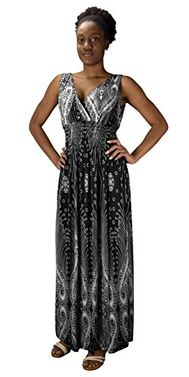 Black Paisley Print Smocked Waist Surplice Bodice Tank Maxi Dress Boho