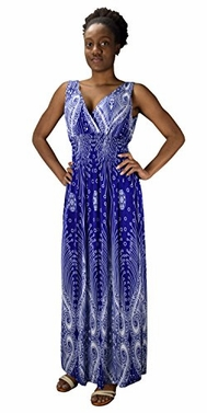 Blue Paisley Print Smocked Waist Surplice Bodice Tank Maxi Dress Boho