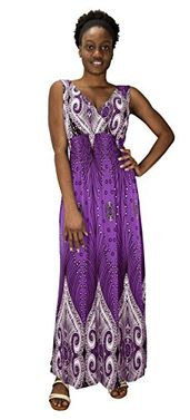 Purple Paisley Print Smocked Waist Surplice Bodice Tank Maxi Dress Boho