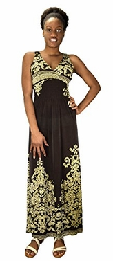 Women's Paisley Print Smocked Waist Surplice Bodice Tank Maxi Dress Damask Brown Large