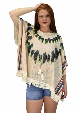 Peach Couture Womens Peacock Light weight Summer Poncho Cardigan Cover Up Beige