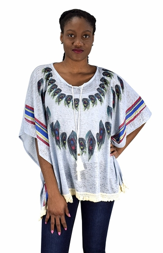 Blue Womens Peacock Light weight Summer Poncho Cardigan Cover Up