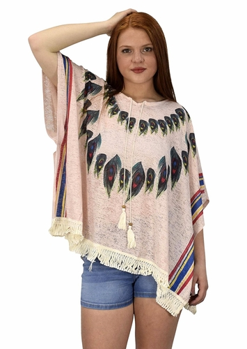 Pink Womens Peacock Light weight Summer Poncho Cardigan Cover Up