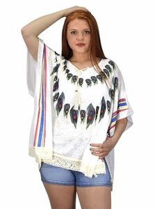 White Womens Peacock Light weight Summer Poncho Cardigan Cover Up