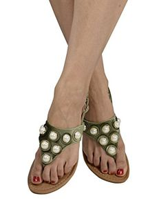 Army Womens Pearl Studded Back Strap Sandals Flip Flops 9 B(M) US