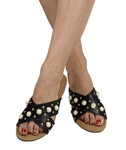 Black Womens Pearl Studded Criss Cross Band Slides Sandals 7 B(M) US