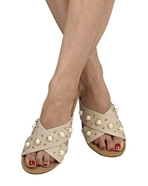 Tan Womens Pearl Studded Criss Cross Band Slides Sandals US
