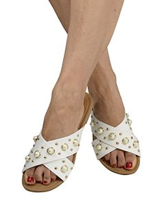 White Womens Pearl Studded Criss Cross Band Slides Sandals US