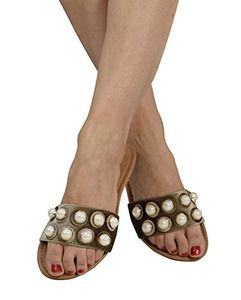 Brown Womens Pearl Studded Sandals Slides US